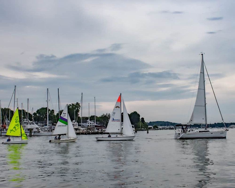 The parade of sail displayed the sailing school's wide array of boats. Left to right: 12' Zest, 14' American, 24' Rainbow,  37' Beneteau (10' Laser not pictured).
