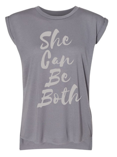 She Can Be Both Women's Flowy Rolled Cuffs Muscle Tee