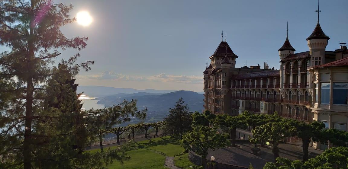 The Caux Palace above Lake Geneva