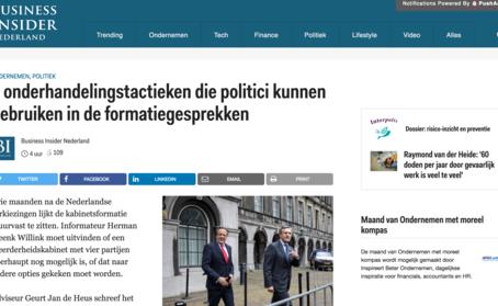 Business Insider: 7 onderhandelingstactieken die politici kunnen gebruiken in de formatiegesprekken