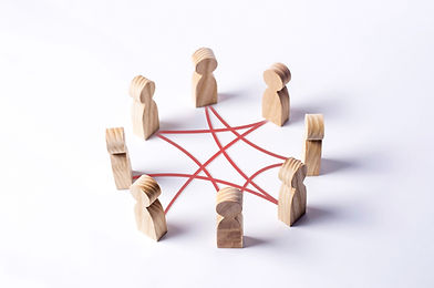 Circle of people interconnected by red curves lines. cooperation, teamwork, training. Staf