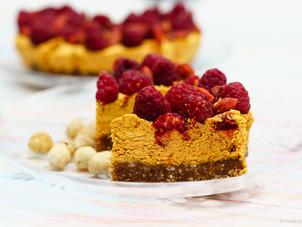 Raw vegan goji berry and raspberry cheesecake