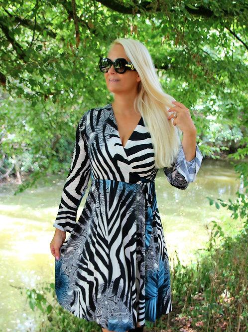 Print Dress Blue Zebra