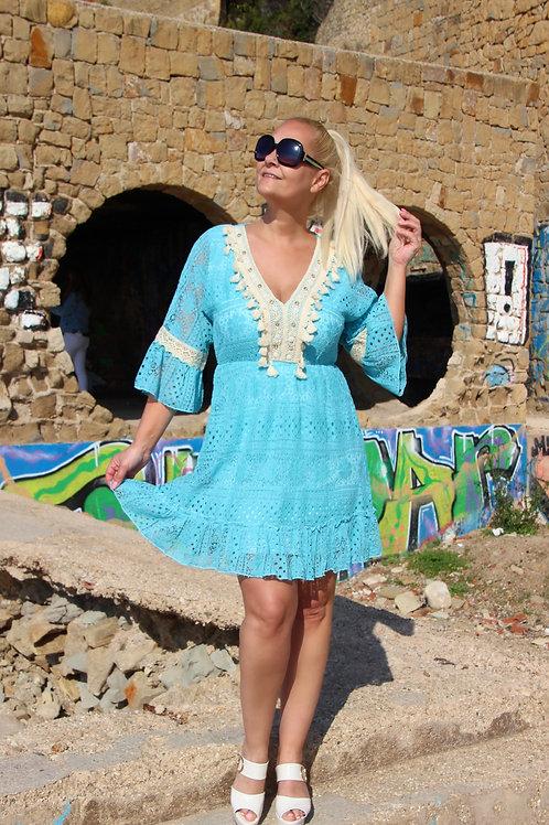 Boho Kleed Kant Turquoise