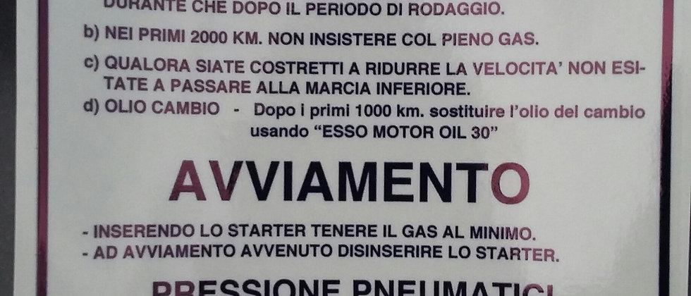 Adesivo blu rodaggio Vespa rally 2%