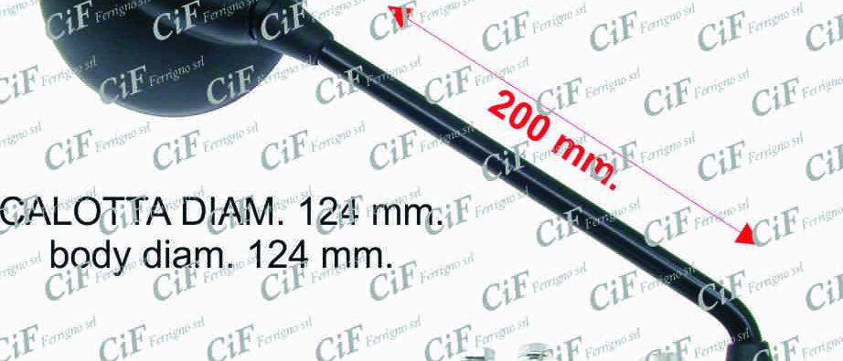 Specchio retrovisore nero destro/sinistro con staffa Vespa