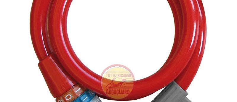 Lucchetto rosso bici con combinazione lunghezza 1mt