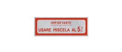 """Adesivo """"Importante usare miscela al 5%"""" rosso grande"""