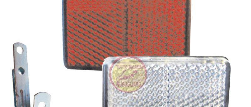Catadiottro anteriore e posteriore rosso-bianco con staffa