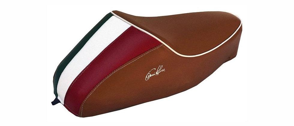 Sella gobba marrone Vespa 50 con tricolore