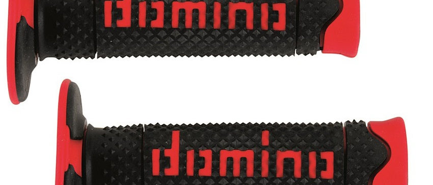 Coppia manopole domino scooter cross enduro nere/rosse
