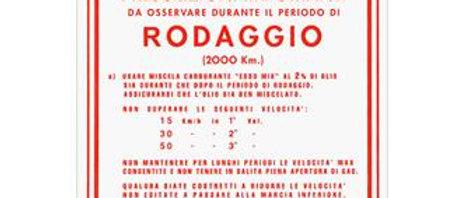 Adesivo Vespa rodaggio rosso 2% 3 marce