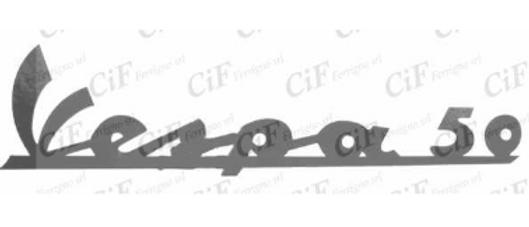 """Adesivo nero """"Vespa 50"""" scudo anteriore"""