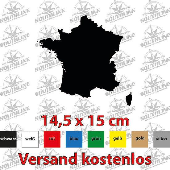Länder-Silhouette Frankreich, Klebefolie in verschiedenen Farben