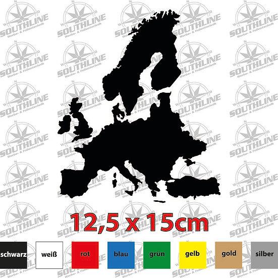 Länder-Silhouette Europa, Klebefolie in verschiedenen Farben