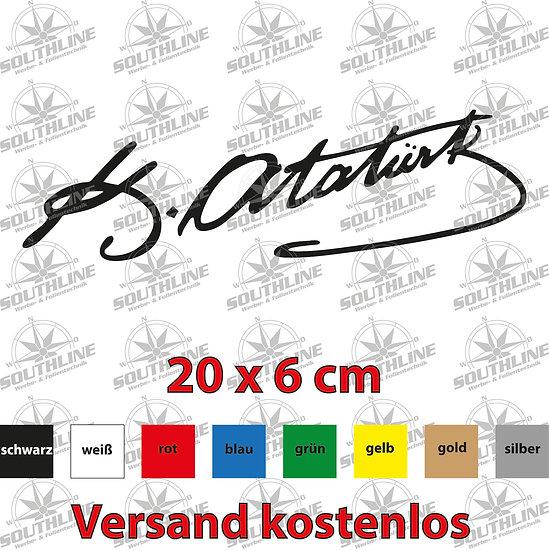 Atatürk Unterschrift, Klebefolie in verschiedenen Farben