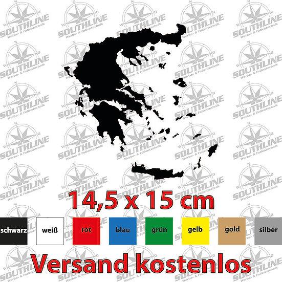 Länder-Silhouette Griechenland, Klebefolie in verschiedenen Farben