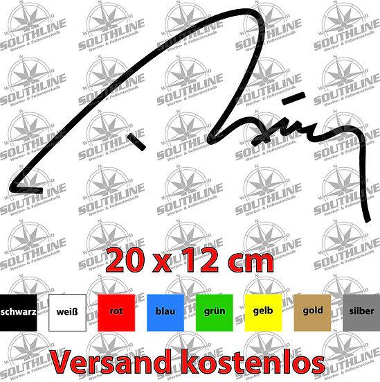 Erdogan Unterschrift, Klebefolie in verschiedenen Farben
