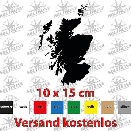 Länder-Silhouette Schottland, Klebefolie in verschiedenen Farben