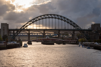 Sunset over the river Tyne, Quayside Newcastle