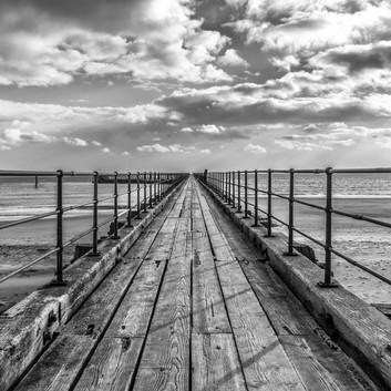 Blyth Pier, Northumberland, in B/W