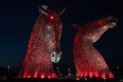 The Kelpies, Falkirk, Scotland - Red