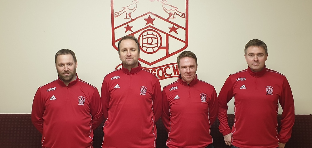 L to R: Aiden Carter, Eddie Carr, Dave Leydon (Manager) and Adrian Gates.