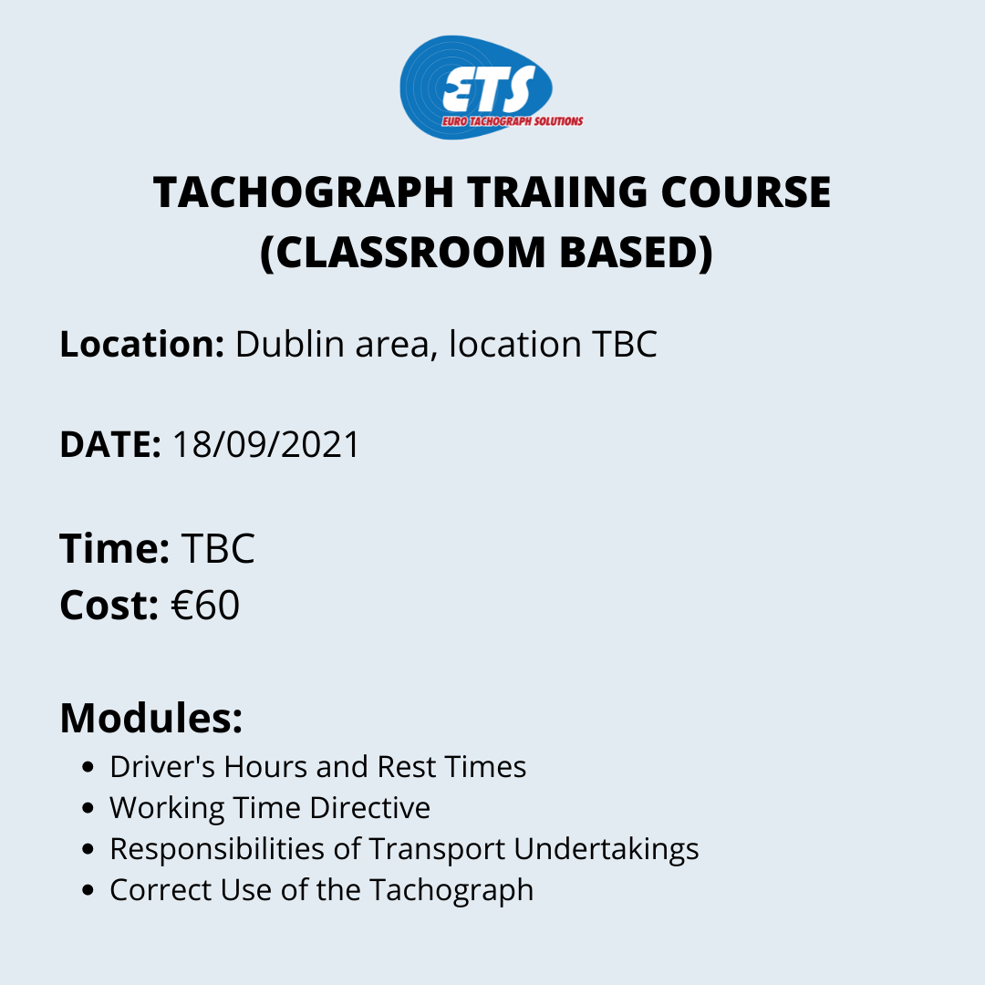 Tachograph Training Course - DUBLIN