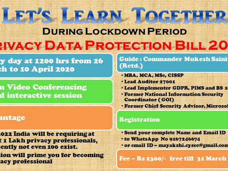 Learn during Lockdown - PDPB 2019