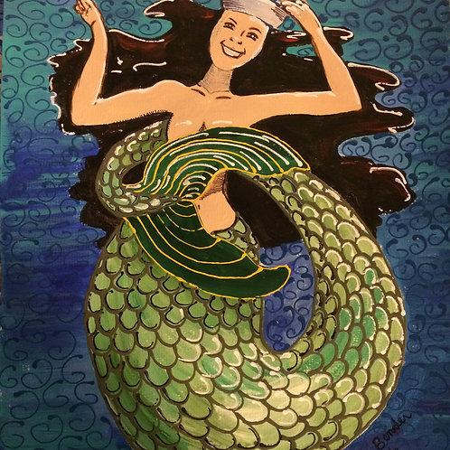 Joyful Brunette Mermaid