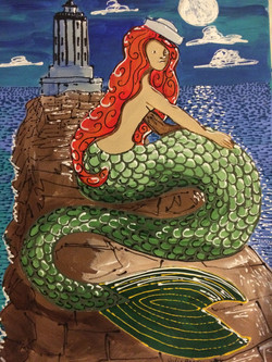 Red Head Mermaid Awaits