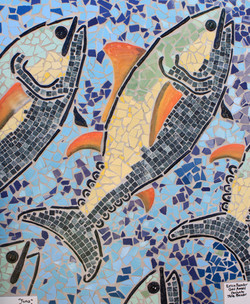 Detailed fish within the mural