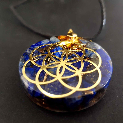 28 - Pendentif  Fleur de vie Lapis Lazuli - Paix - Confiance - Créativi