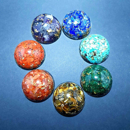 Pack Mini Dôme pierres des 7 chakras OR