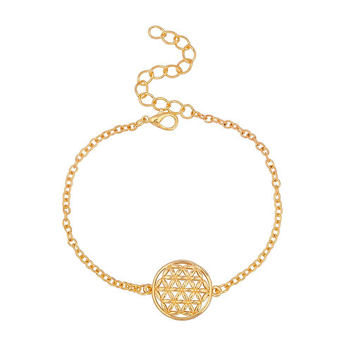 Bracelets en Cuivre Fleur de Vie Doré