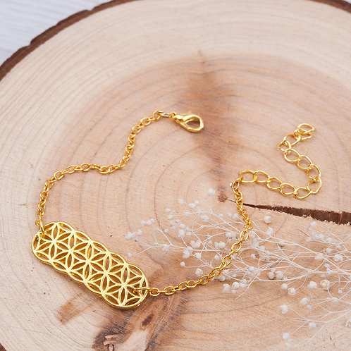 Bracelet Fleur de vie en Cuivre doré