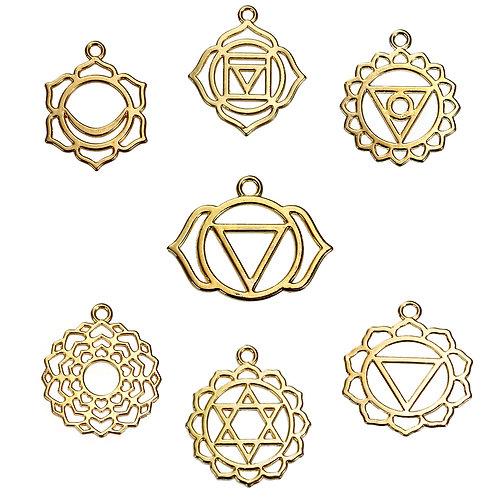 Set de pendentifs 7 chakras doré
