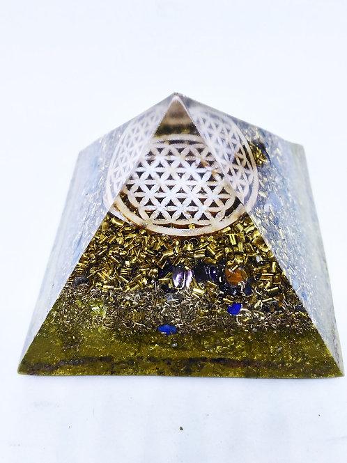 H- Pyramide 10x10 Protection Fleur de vie Bois