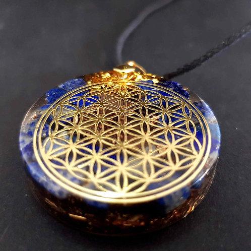 22 - Pendentif  Fleur de vie Lapis Lazuli - Paix - Confiance - Créativité