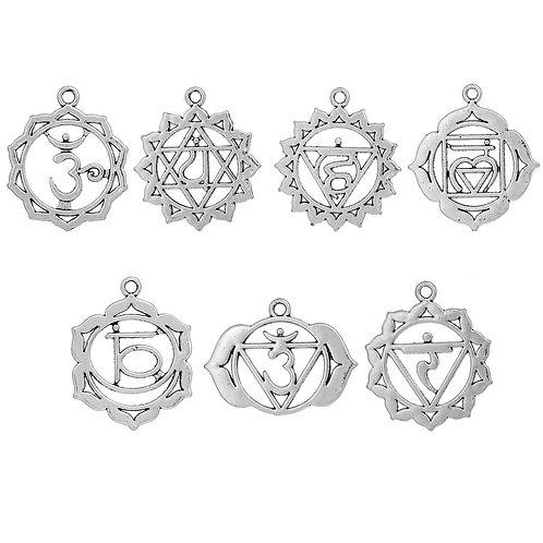 Set de pendentifs 7 chakras Argenté