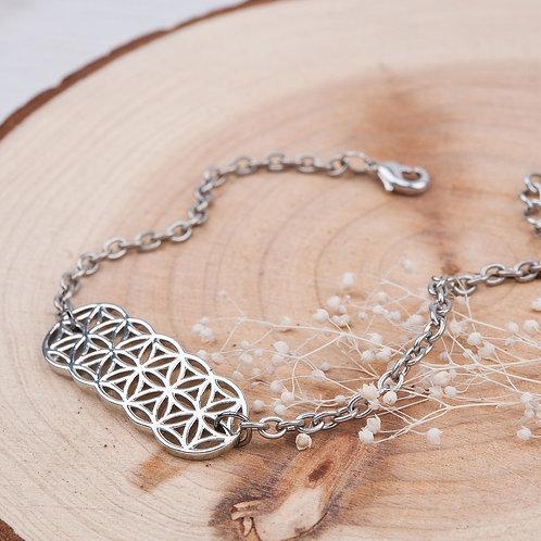 Bracelet Fleur de vie en Cuivre Argenté