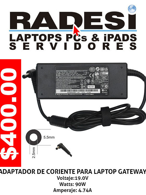 Cargador para laptop Gateway