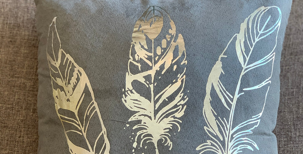 Gray Feather Cushion 40x40cm