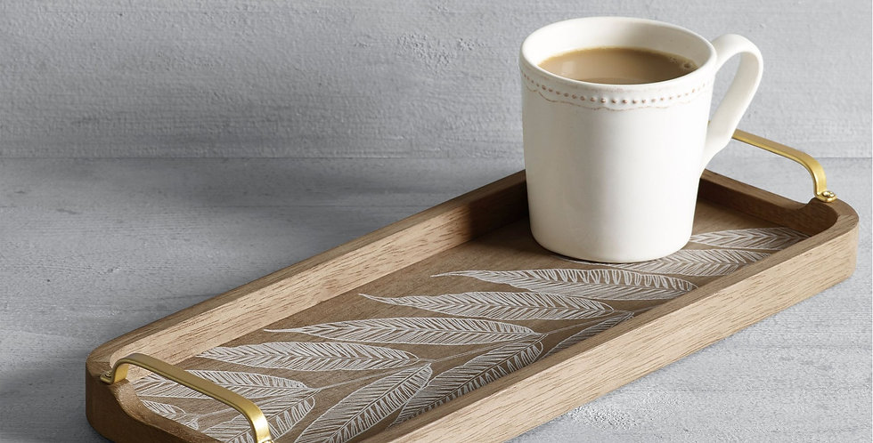Wooden tray with leaves