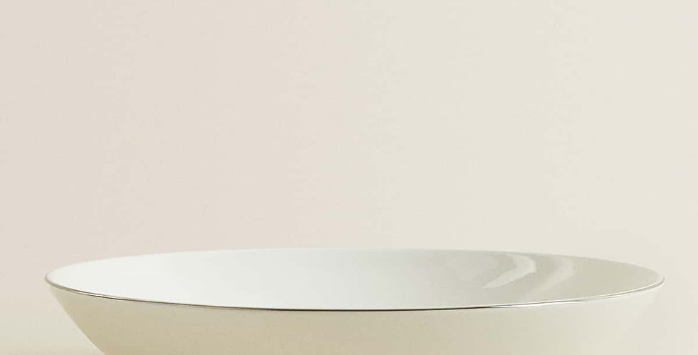 Pasta Bowl with Silver Rim