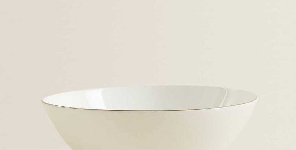 Soup Bowl with Silver Rim