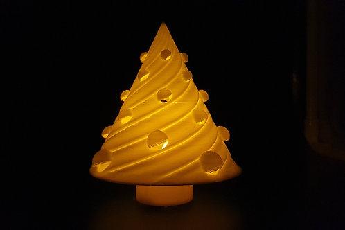 Leuchtender Weihnachtsbaum - Rund mit Christbaumkugeln