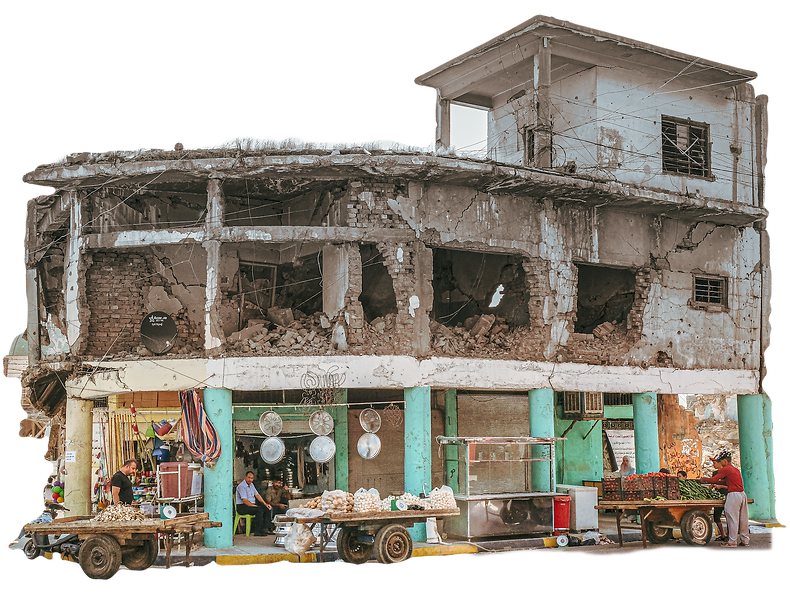 West Mosul shops in damaged building