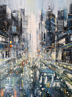 city in the rain
