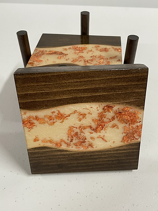 Epoxy river coasters. Titanium with rose gold flake and Kona stain